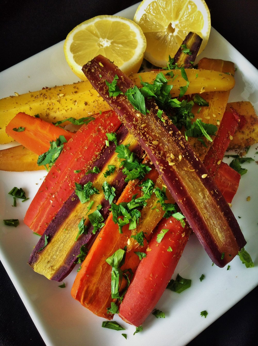Zatar Spiced Rainbow Carrots - Healthy, Gluten-Free, Oil-Free, Plant-Based, Paleo, Vegan