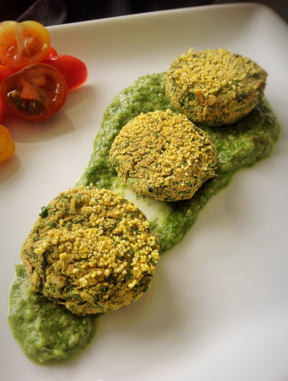 Baked Falafel Cakes - Healthy, Gluten-Free, Oil-Free, Plant-Based, Vegan