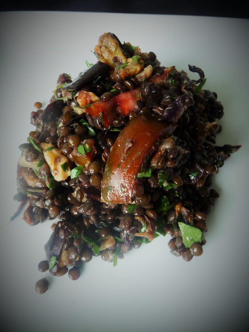 Black Lentil Eggplant Walnut Georgian Salad - Healthy, Gluten-Free, Grain-Free, Oil-Free, Plant-Based, Vegan