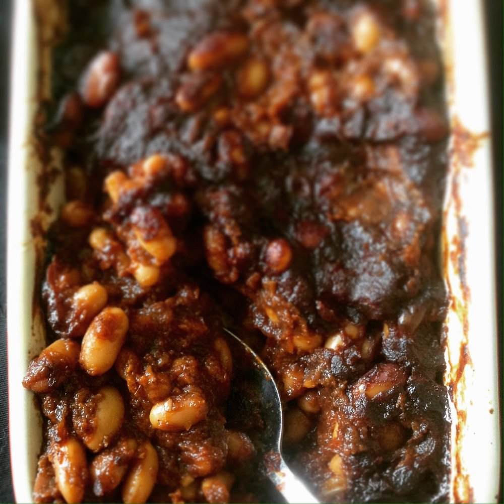 Chipotle Barbecue Baked Beans - Healthy, Gluten-Free, Paleo, Oil-Free, Plant-Based Vegan