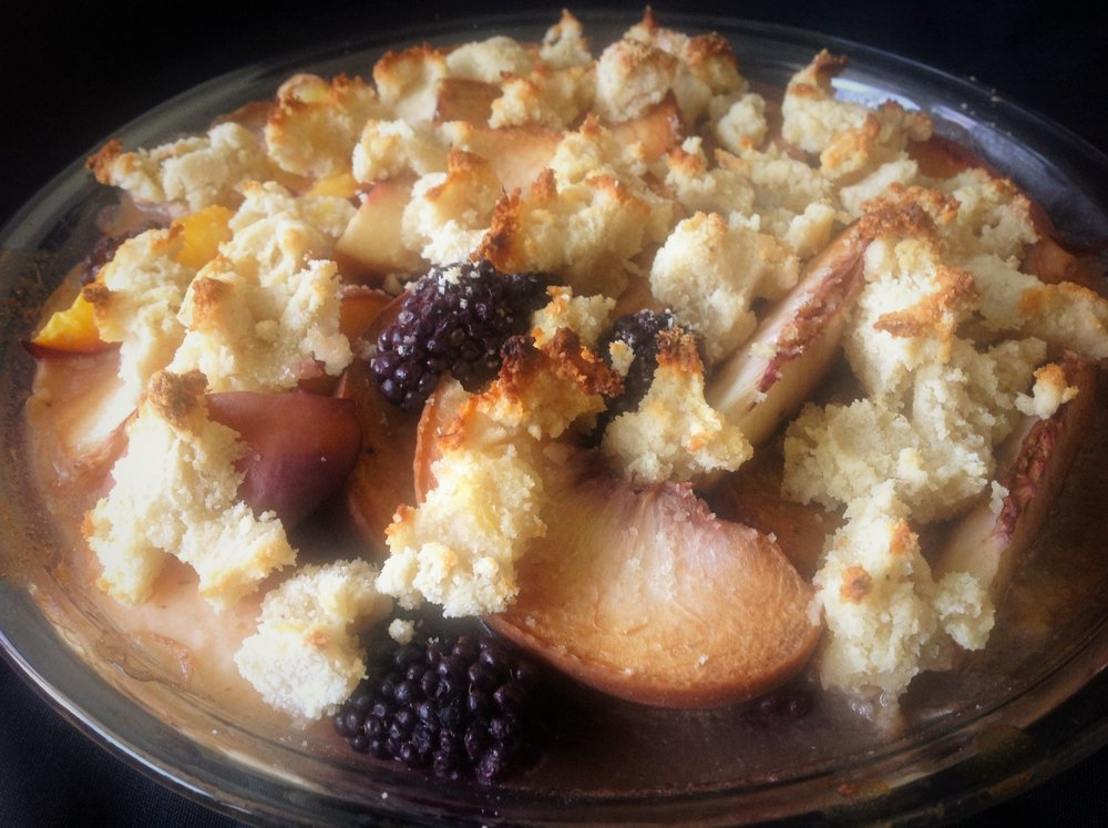 Peach Blackberry Paleo Vegan Cobbler - Healthy, Gluten-Free, Oil-Free, Plant-Based, Dairy-Free Hor