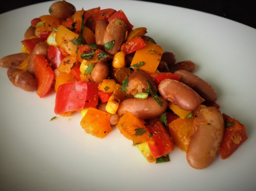 Red European Soldier Bean Salad  - Healthy, Gluten-Free, Oil-Free, Plant-Based, Vegan Hor