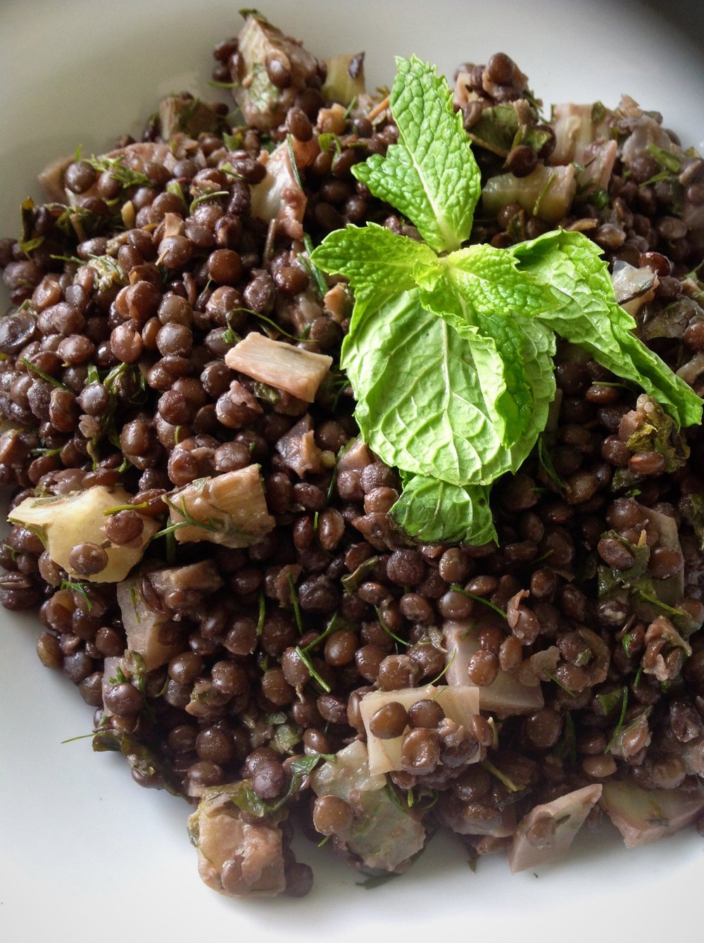 French Beluga Lentil Fennel Salad - Healthy, Plant-Based, Gluten-Free, Oil-free, Vegan