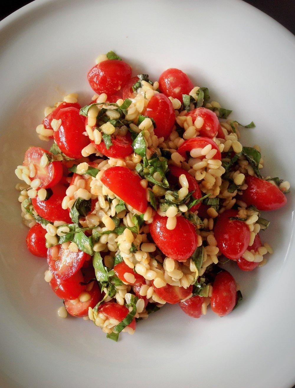 White Ivory Lentil Tomato Basil Salad - Healthy, Gluten-Free, Oil-Free, Plant-Based Vegan