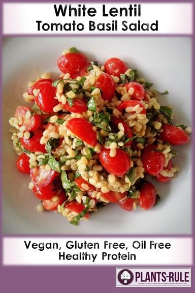 White Lentil Tomato Basil Salad