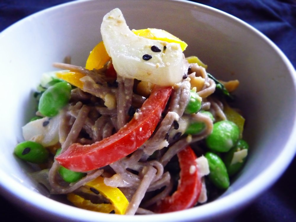 Asian Cold Buckwheat Soba Noodle Peanut Salad - Healthy, Whole Grain, Oil-Free, Plant-Based, Vegan Recipe