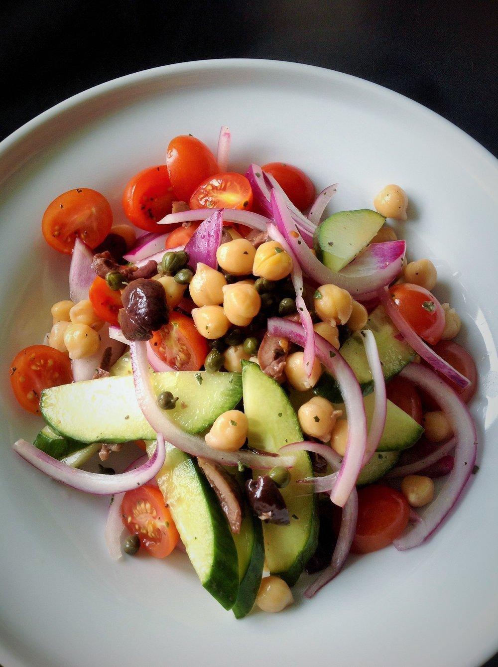 Big 'Ole Italian Chickpea Salad - Healthy, Gluten-Free, Grain-Free, Oil-Free, Bean, Olive, Caper, Plant-Based, Vegan Recipe