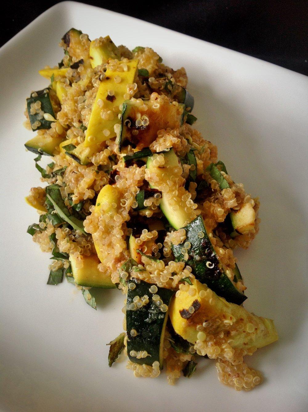 Charred Zucchini and Summer Squash Quinoa - Healthy, Gluten-Free, Oil-Free, Plant-Based, Vegan Grill Salad Recipe