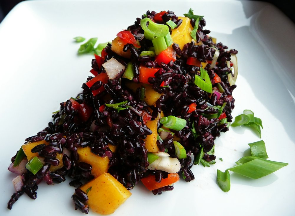 Curry Forbidden Black Rice Salad - Healthy, Gluten-Free, Oil-Free, Spicy, Plant-Based, Asian, Vegan, Spicy Recipe with Mango and Coconut