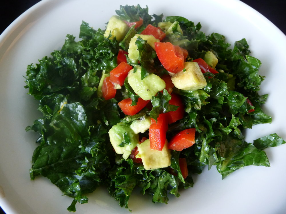 Kale Avocado Salad - Healthy, Gluten-Free, Grain-Free, Paleo, Oil-Free, Easy, Plant-Based, Easy, Simple, Quick Recipe with Omega-3 Fat