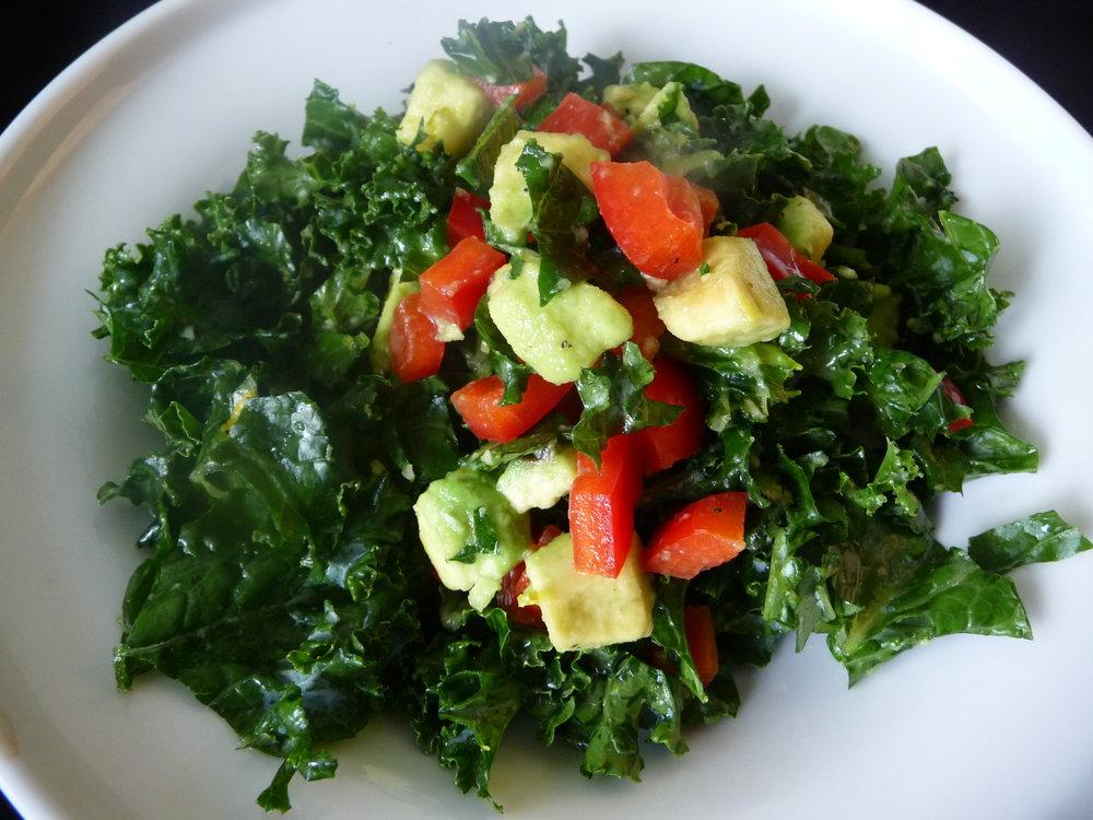Kale Avocado Salad - Healthy, Gluten-Free, Grain-Free, Paleo, Oil-Free, Easy, Plant-Based Vegan