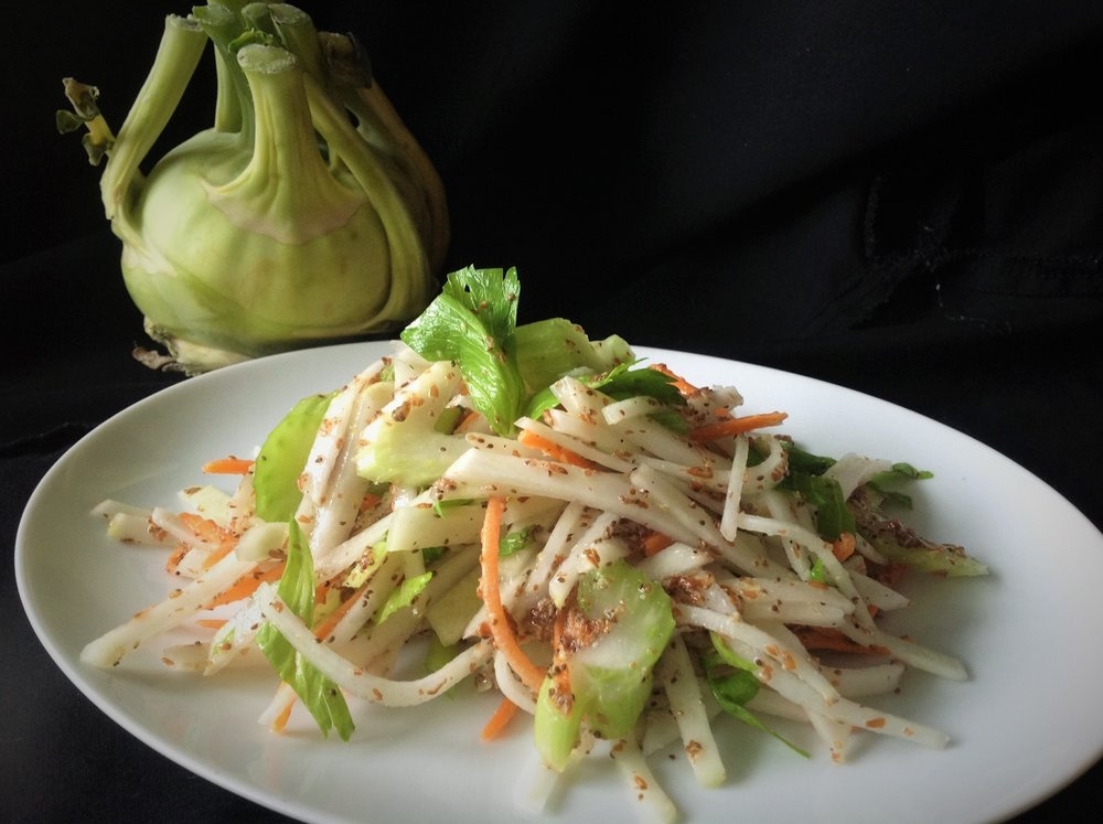 Kohlrabi Slaw - Healthy, Gluten-Free, Grain-Free, Oil-Free, Easy, Plant-Based Vegan Salad Recipe