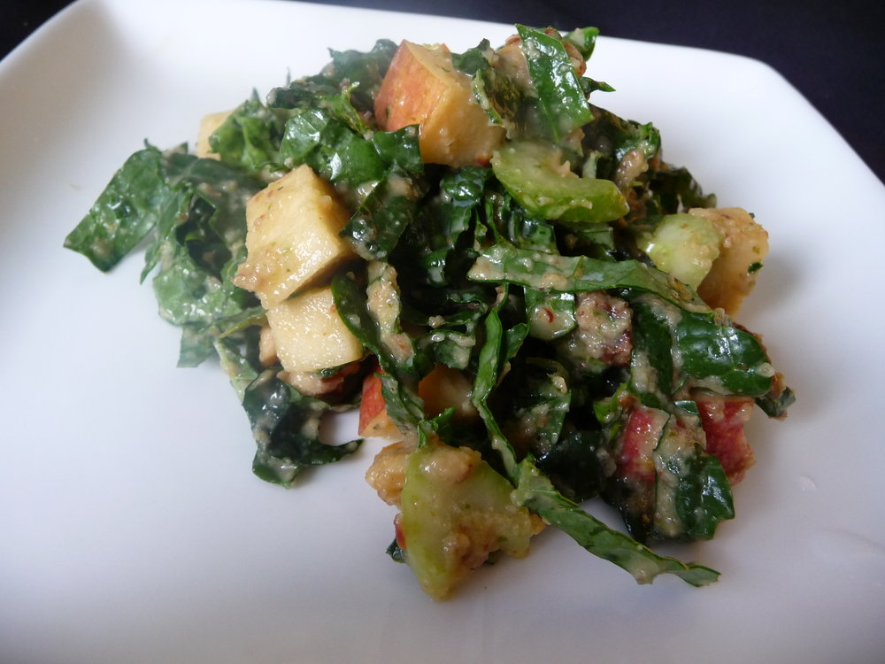 Lacinato Dino Kale Waldorf Salad - Healthy, Gluten-Free, Oil-Free, Grain-Free, Plant-Based Vegan Recipe with Walnuts, Apples, Dijon, and Raisins