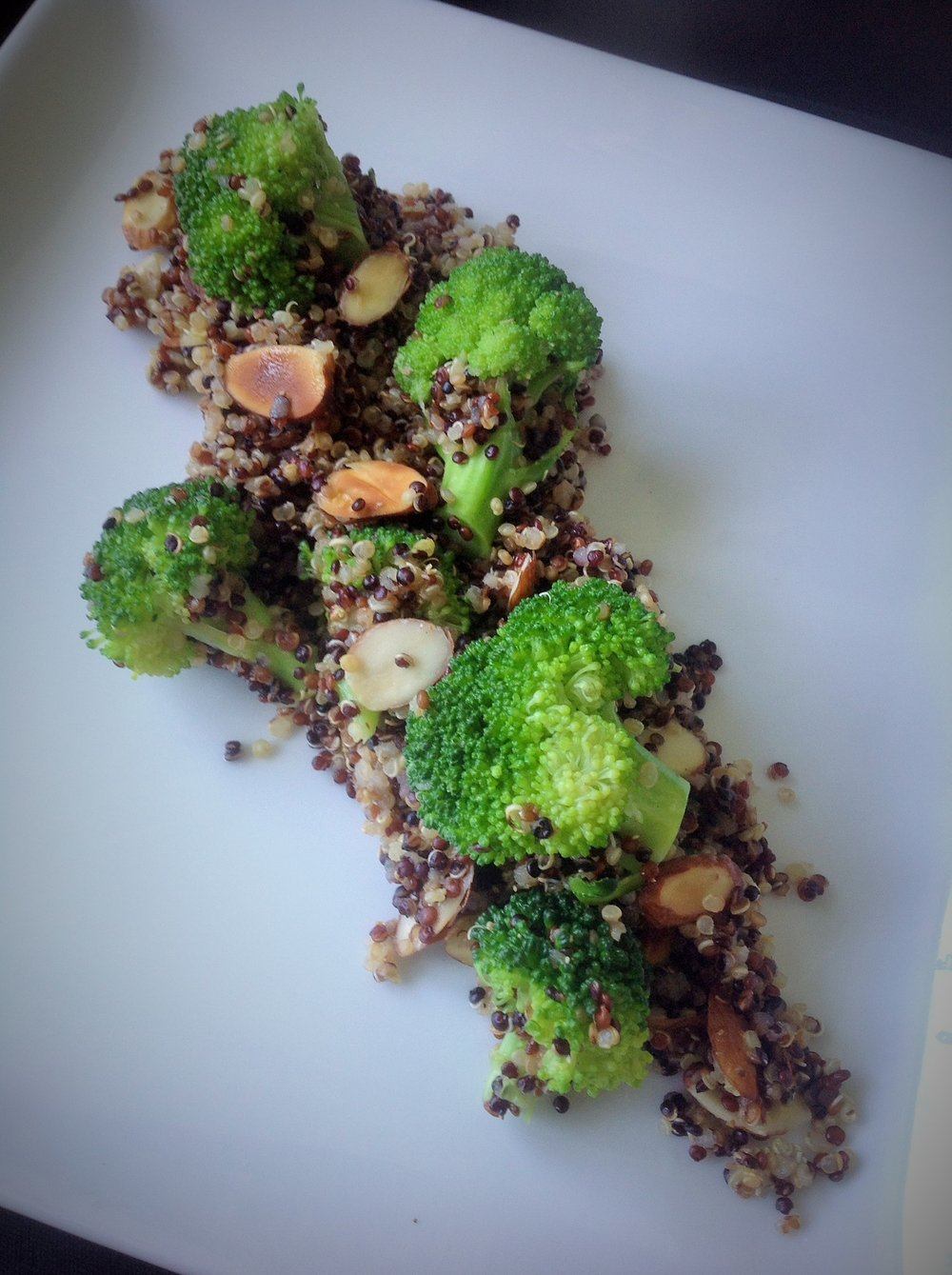Lemon Broccoli Tri-Color Quinoa - Healthy, Gluten-Free, Oil-Free, Plant-Based, Vegan Salad Recipe with Almonds