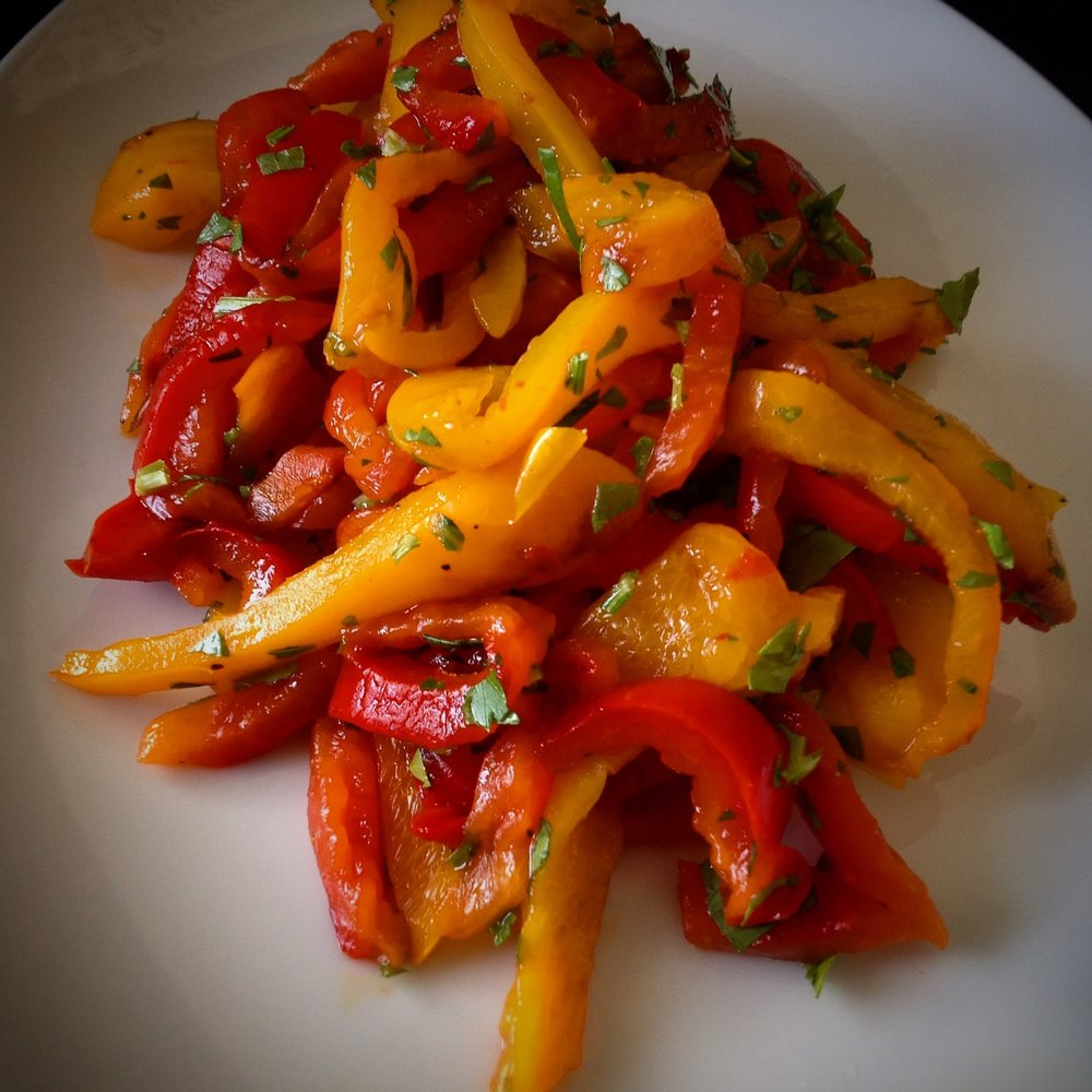 Roasted Mixed Pepper Salad - Healthy, Oil-Free, Gluten-Free, Grain-Free, Plant-Based Vegan Summer Recipe