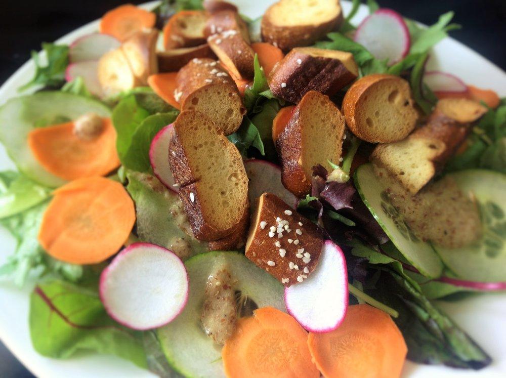 Pretzel Croutons German Mustard Dressing Easy Salad - Healthy, Plant-Based, Oil-Free, Vegan Salad Hor