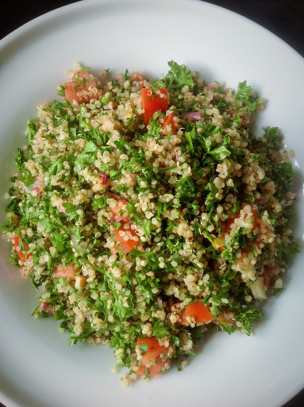 Quinoa Tabbouleh - Healthy, Gluten-Free, Oil-Free, Whole Grain, Vegetarian Protein, Plant-Based, Vegan Salad Recipe with Parsley, Sherry Vinegar