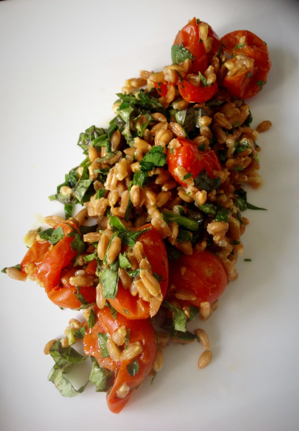 Roasted Tomato Farro Salad - Healthy, Whole Grain, Plant-Based, Oil-Free, Heirloom, Organic, Vegan