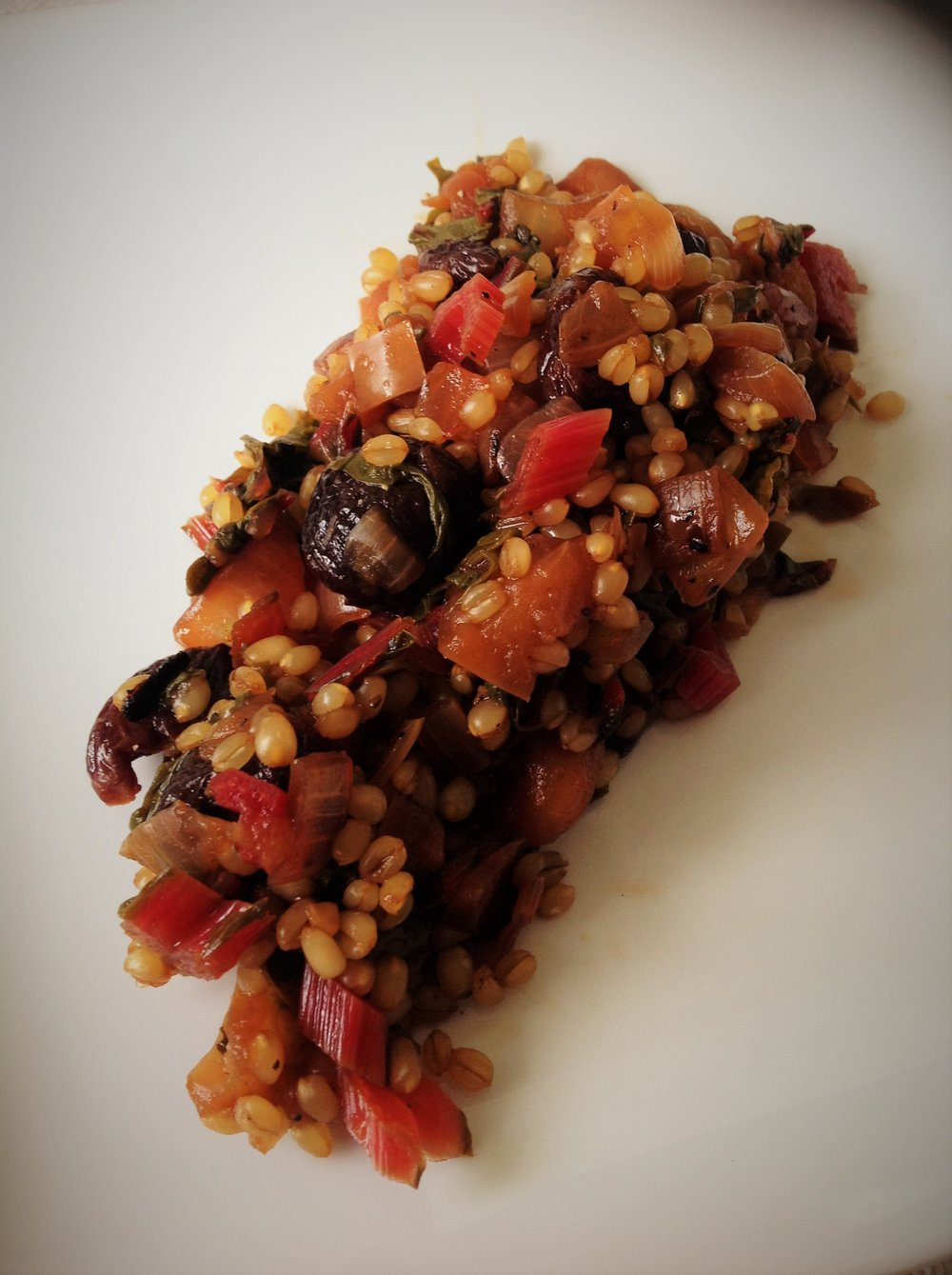 Wheat Berry Cherry and Chard Salad - Healthy, Whole Grain, Oil-Free, Plant-Based Vegan