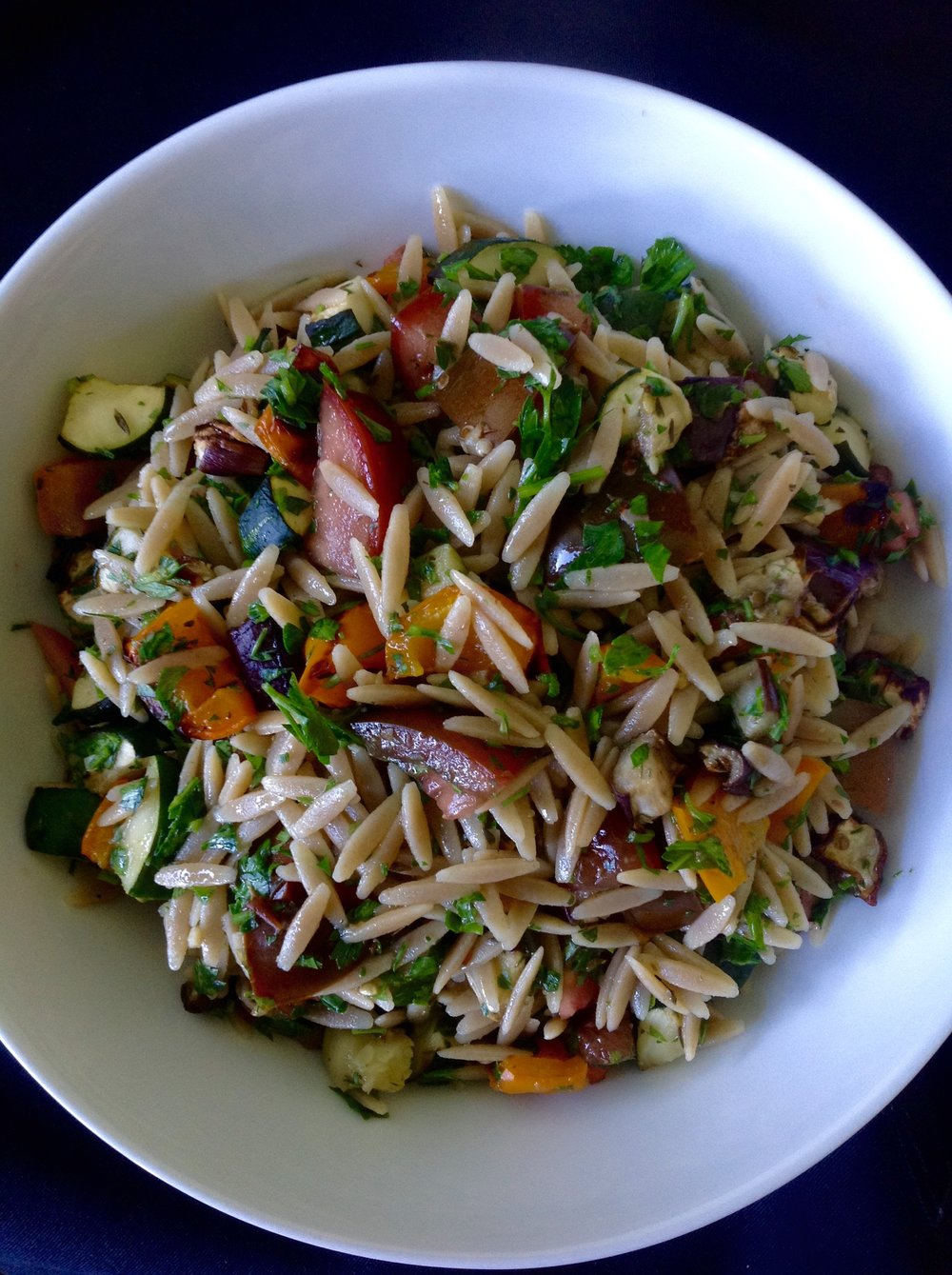 Whole Wheat Orzo Ratatouille - Healthy, Whole Grain, Pasta Salad, Oil-Free, Plant-Based, Vegan, Italian Recipe with Eggplant, Zucchini, Bell Pepper, Tomatoes