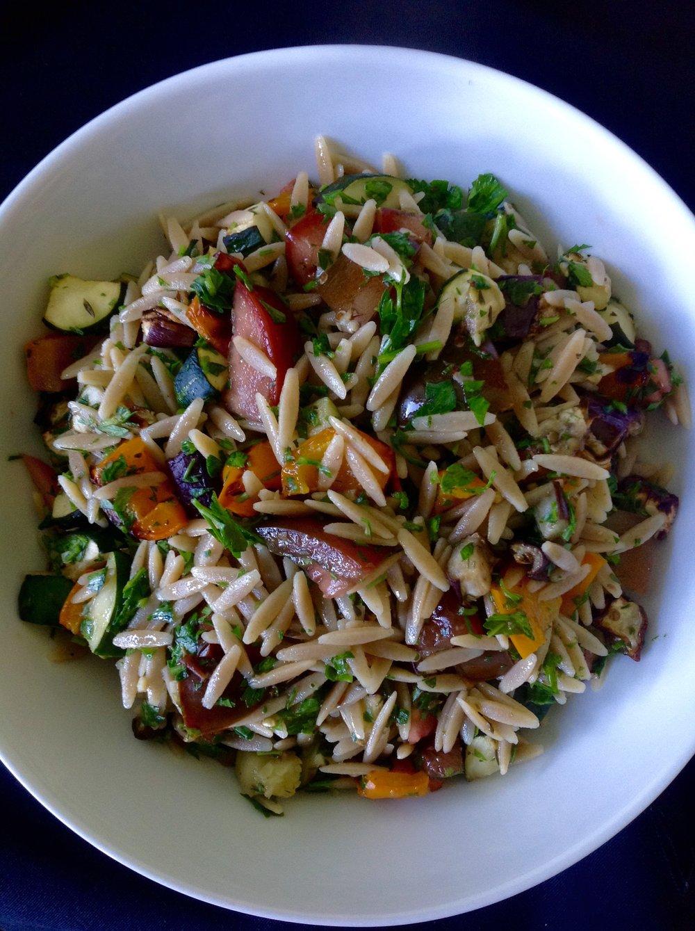 Whole Wheat Orzo Ratatouille - Healthy, Whole Grain, Pasta Salad, Oil-Free, Plant-Based, Vegan