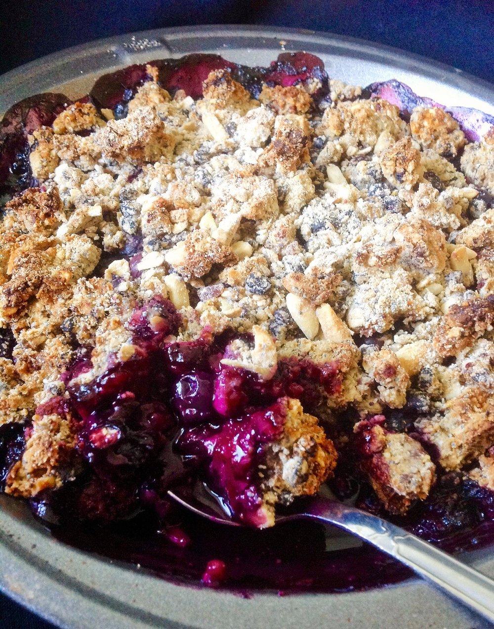 Blueberry Oat Crisp - Healthy, Gluten-Free, Whole Grain, Oil-Free, No Refined Sugar, Plant-Based, Vegan
