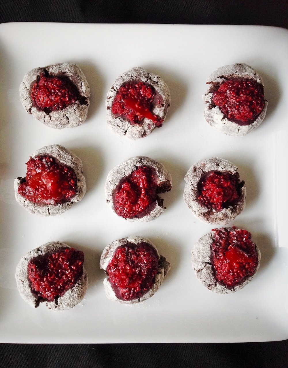 Cocoa Thumbprint Cookies with Raspberry Mango Chia Jam - Healthy, Gluten-Free, Oil-Free, No Refined Sugar, Plant-Based, Vegan
