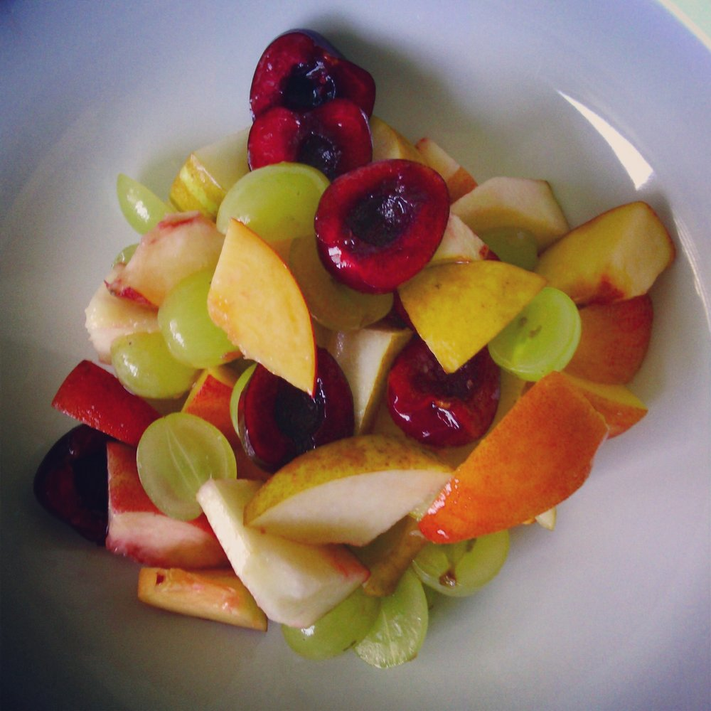 Fruit Mock-Tail Salad Cherries, Grapes, Peaches, Pears - Healthy, Gluten-Free, No Sugar Added, Easy, Plant-Based Vegan Dessert