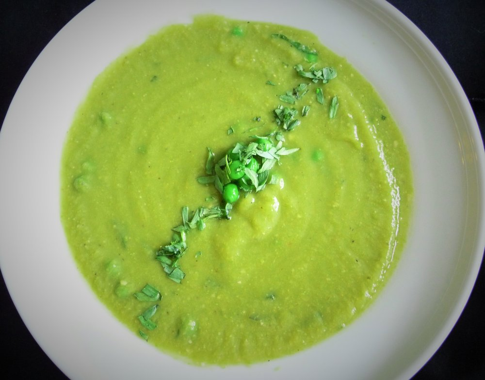 Asparagus Tarragon Pea Soup - Healthy, Plant-Based, Dairy-Free, Oil-Free, Creamy, Vegan