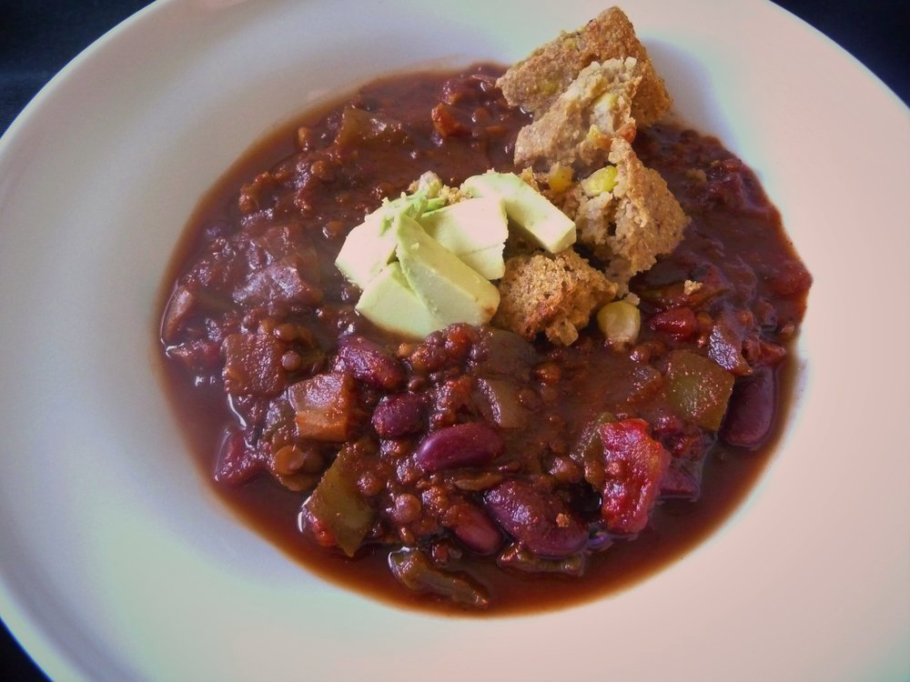 Vegan Beluga Lentil Chili with Cornbread and Avocado - Healthy, Gluten-Free, Vegetarian Protein, Plant-Based, Soup