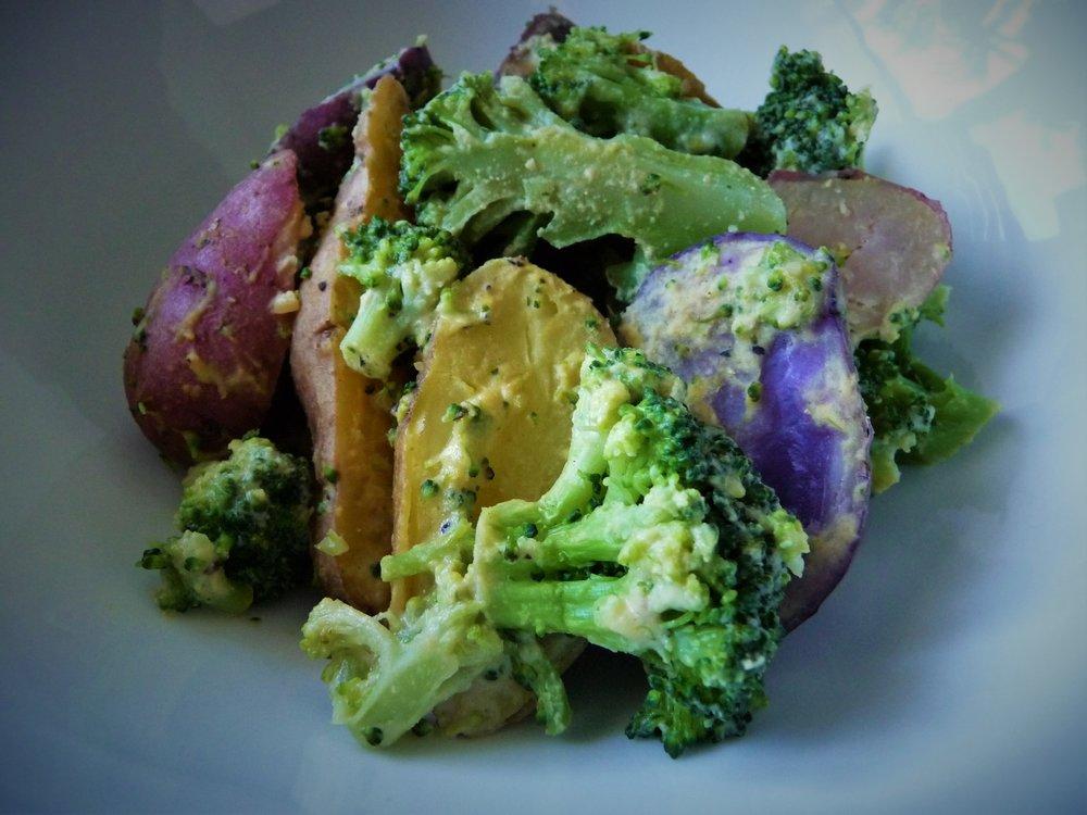5 MInute Lemon Tahini Potato Bowl - Healthy, Gluten-Free, Paleo, Oil-Free, Quick, Easy, Microwave, Vegan, Dinner for One
