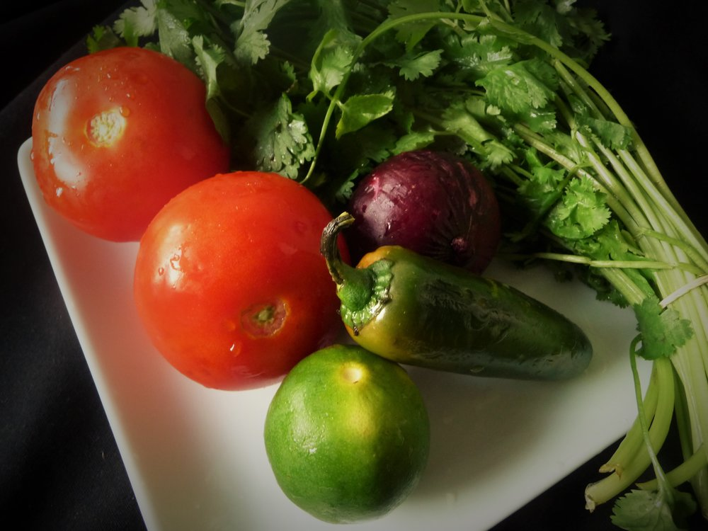 Pico de Gallo Ingredients - Healthy Tomato, Red Onion, Jalapeno, Lime, and Cilantro