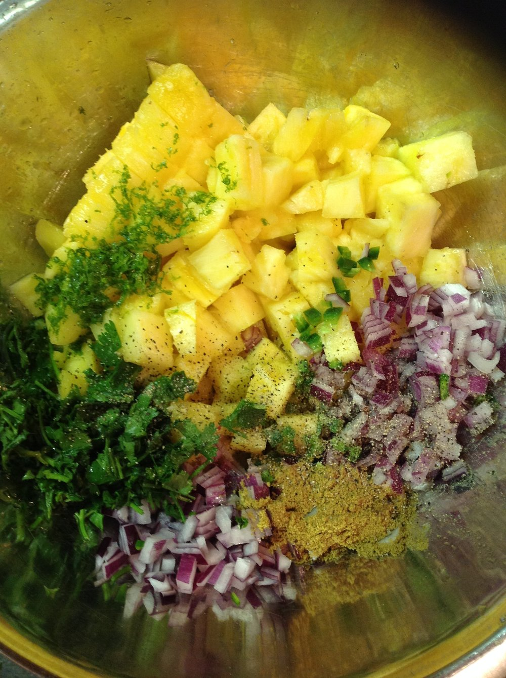 Pineapple Salsa Simple Healthy Ingredients - Pineapple, Red Onion, Jalapeno, Cumin, Lime, Cilantro