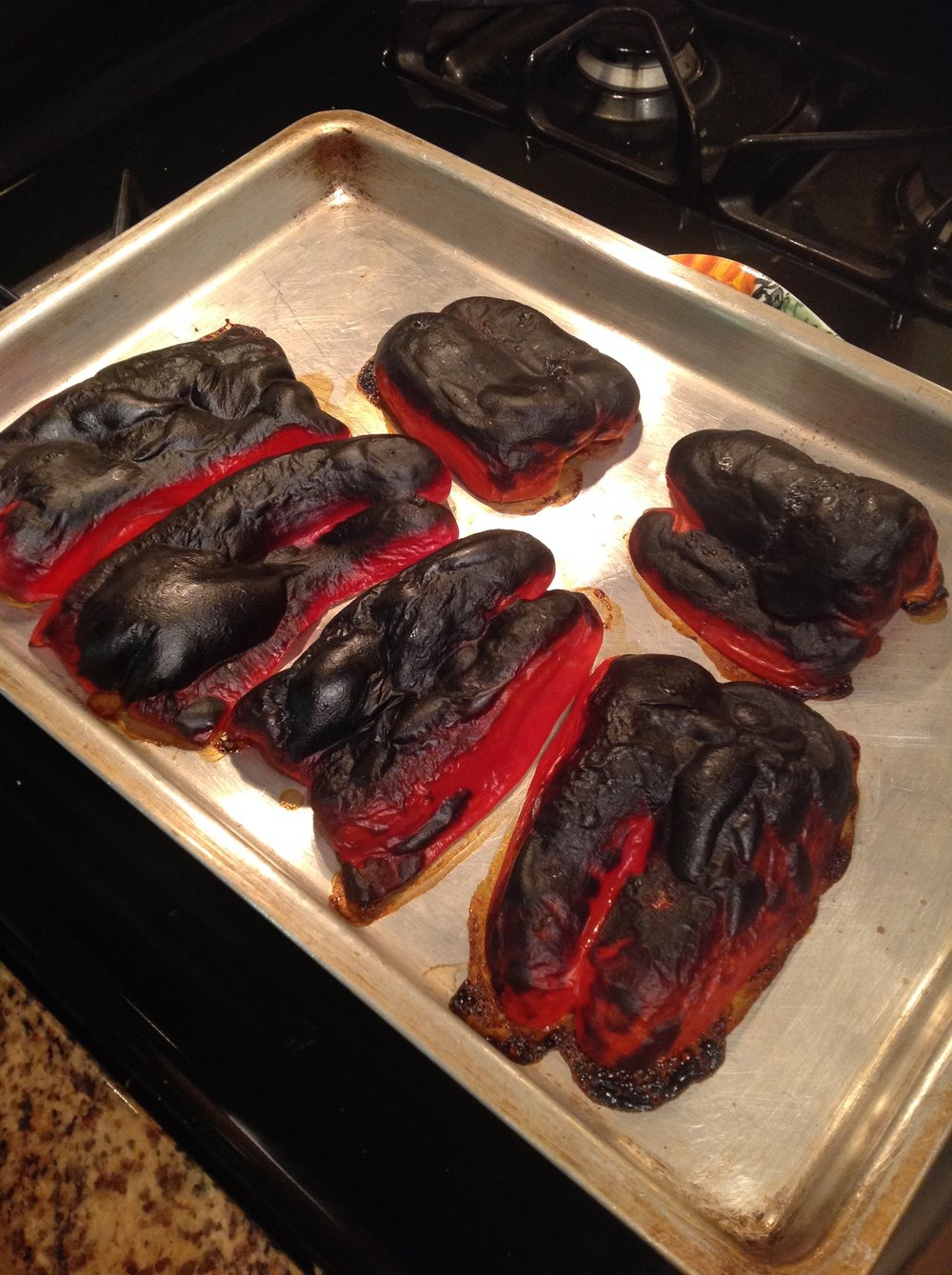 Chef's Tip - Roast Off a Bunch of Bell Peppers at Once, Under your Broiler, for 8-10 Minutes