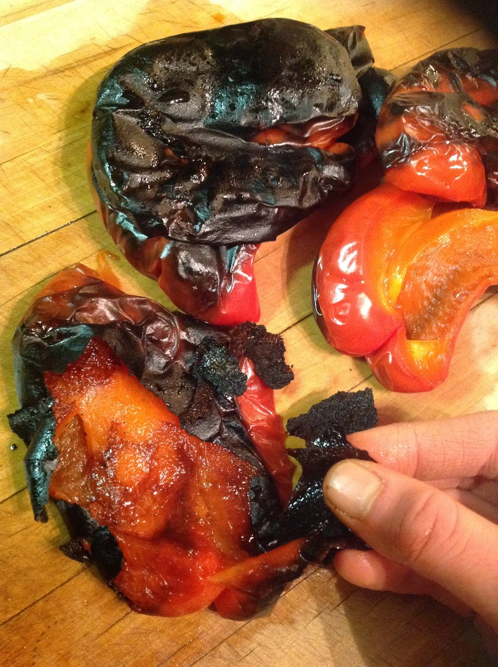 Chef's Tip - After Steaming, The Charred Skins of the Roasted Peppers Easily Peels Off for Healthy, Delicious Flavor
