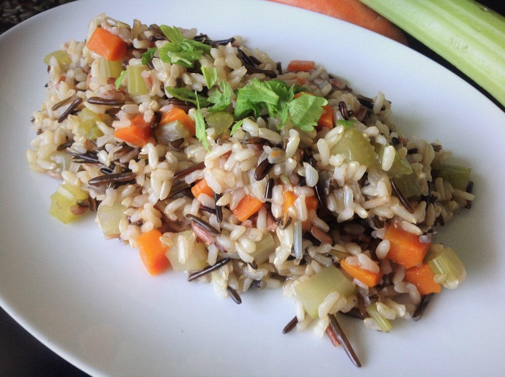 Easy Wild Rice Pilaf - Healthy, Gluten-Free, Plant-Based, Oil-Free, Vegan Recipe with Anishinaabeg Manoomin Wild Rice