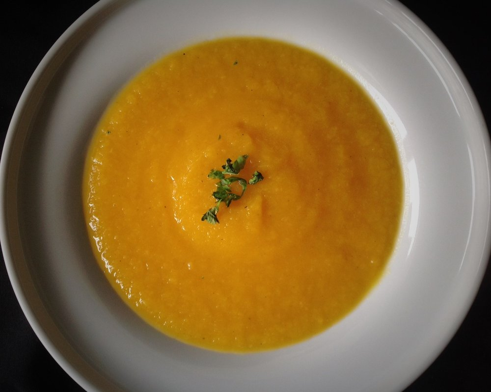 Roasted Pumpkin Parsnip Soup - Healthy, Gluten-Free, Plant-Based, Oil-Free, Easy Vegan Fall Squash Recipe