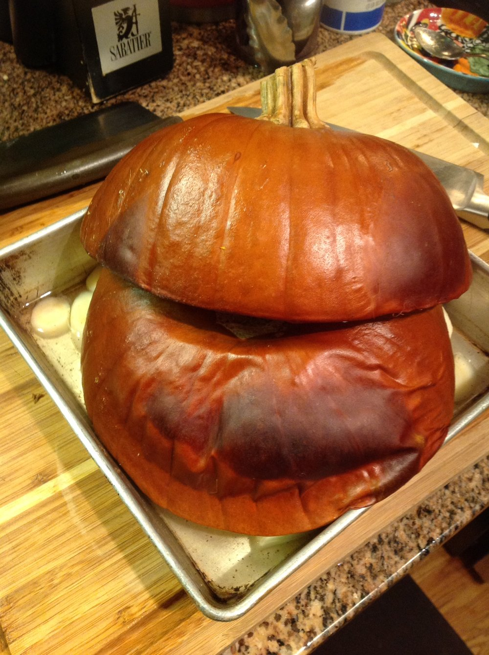 Chef's Tip: Whole Pumpkin is Halved and Roasted with Parsnips at high temperature to bring out the natural sweetness