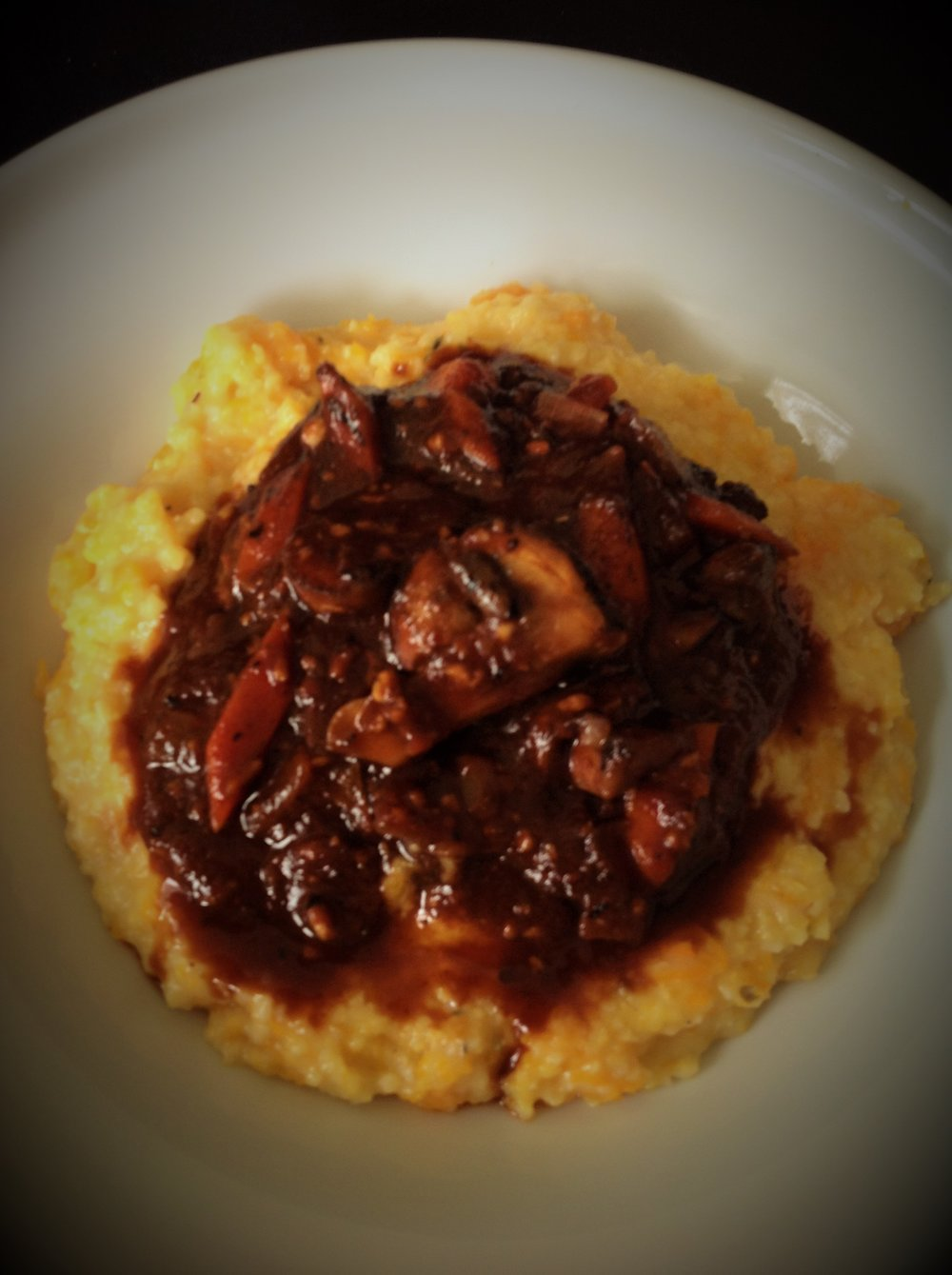 Mushroom Ragout with Butternut Squash Polenta - Healthy, Gluten-Free, Oil-Free, Plant-Based, Vegan
