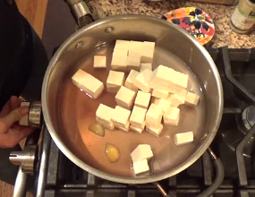 Chef's Plant-Based Tip: Firm tofu chunks are brined, just like feta, for dairy-free delicious flavor