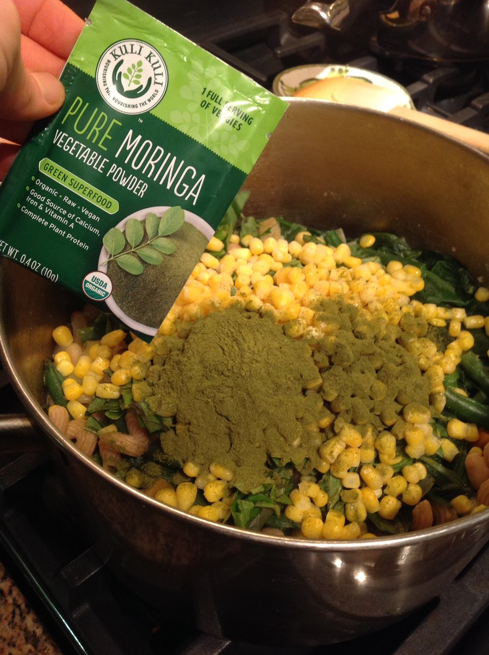 Chef's Plant-Based Tip: Green Moringa powder adds healthy plant-based vegan protein, calcium, and iron to this soup recipe