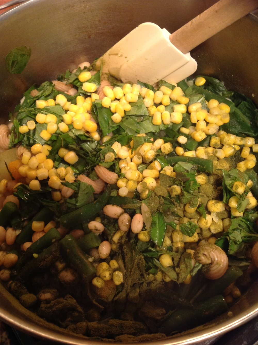 Chef's Healthy TIp: A colorful mix of beans, corn, spinach, and vegetables provide healthy fiber and vegan protein to this nutritious soup recipe