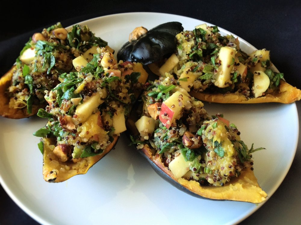 Acorn Squash with Quinoa Hazelnut Apple Stuffing - Healthy, Gluten-Free, Plant-Based, Oil-Free Vegan Holiday Recipe