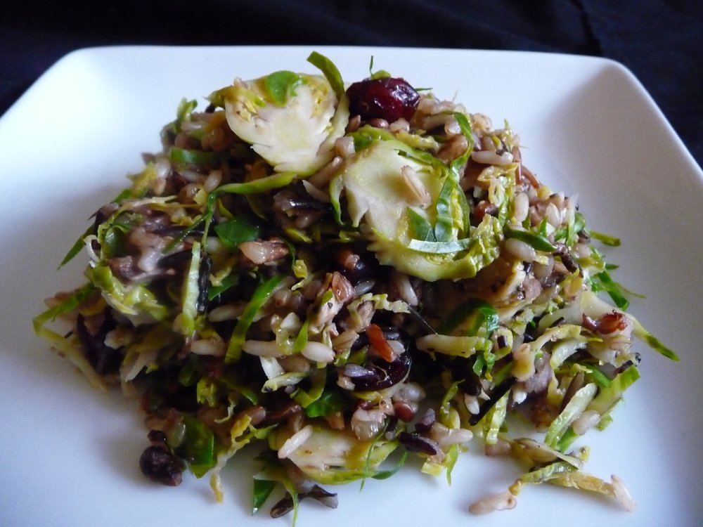 Shaved Brussels Wild Rice Pilaf - Healthy, Plant-Based, Gluten-Free, Oil-Free, Vegan Holiday Side Dish Recipe