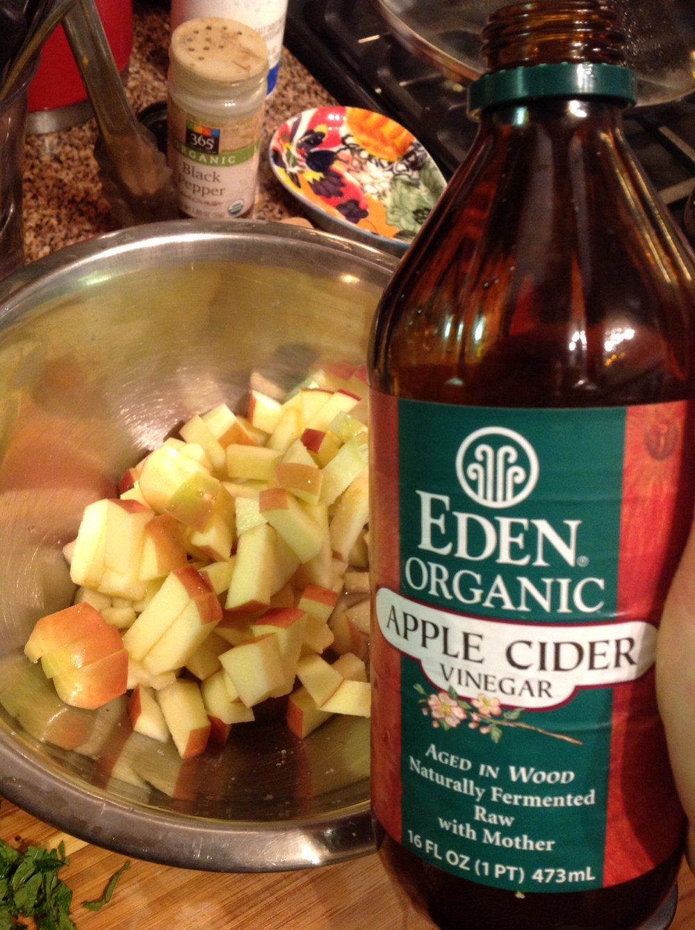 Chef's Tip: Diced apple adds a healthy, low-calorie crunch. Toss in a couple tablespoons of vinegar to prevent browning