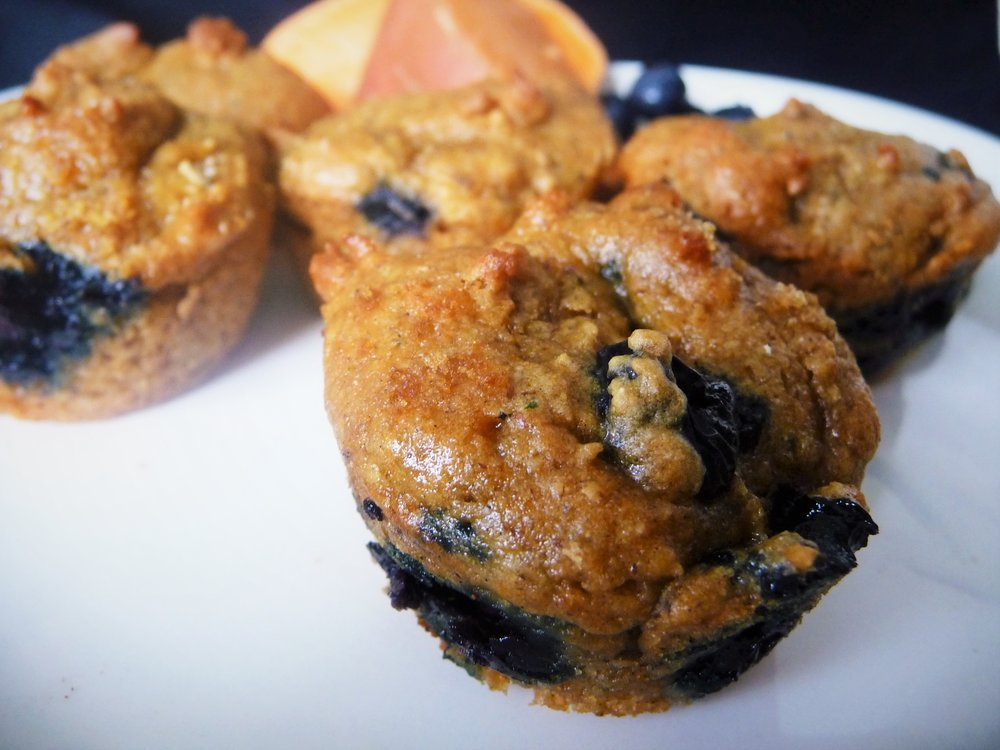Wild Blueberry Sweet Potato Cardamom Muffin - Healthy, Plant-Based, Oil-Free, No Refined Sugar, Vegan Baking Recipe