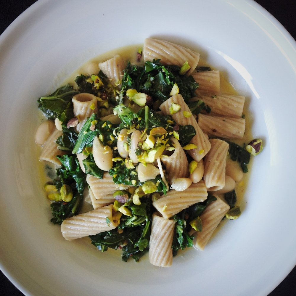 Lemony Kale Rigatoni Pasta - Healthy, Plant-Based, Vegan, Oil-Free, Whole Grain, Dairy-Free, Italian Dinner Entree Recipe