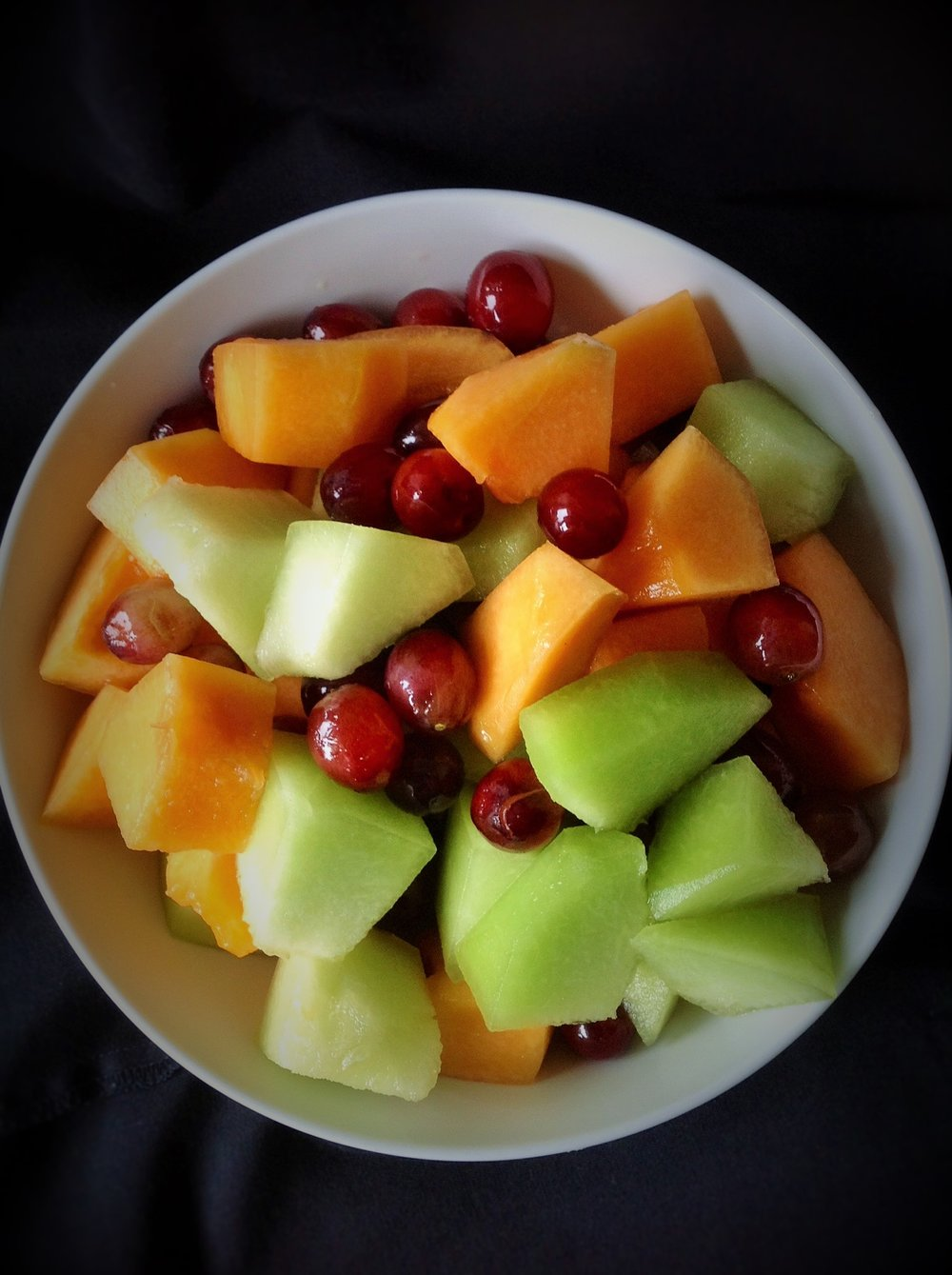 Melon Fruit Salad: Cut up some cantaloupe, honeydew, and red grapes.  In 5 minutes you can have delicious, healthy snacks for days