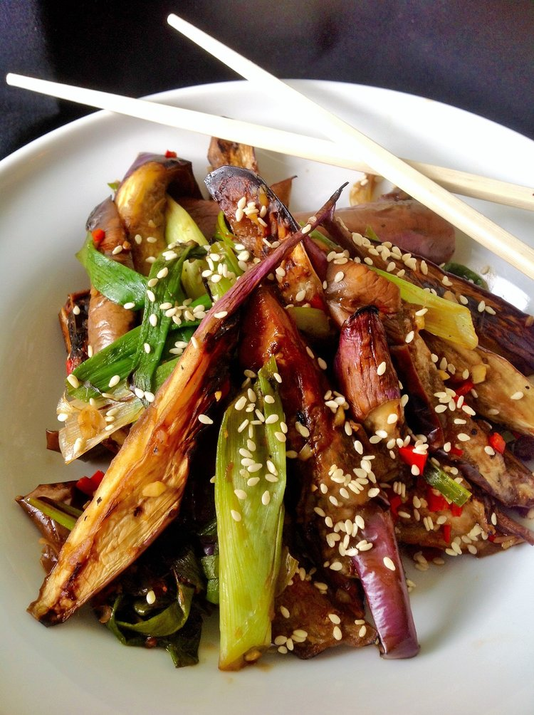 Chinese Eggplant Stir-Fry: Healthy, Fat-Free, Oil-Free Steam Saute Plant-Based, Gluten-Free Asian Recipe
