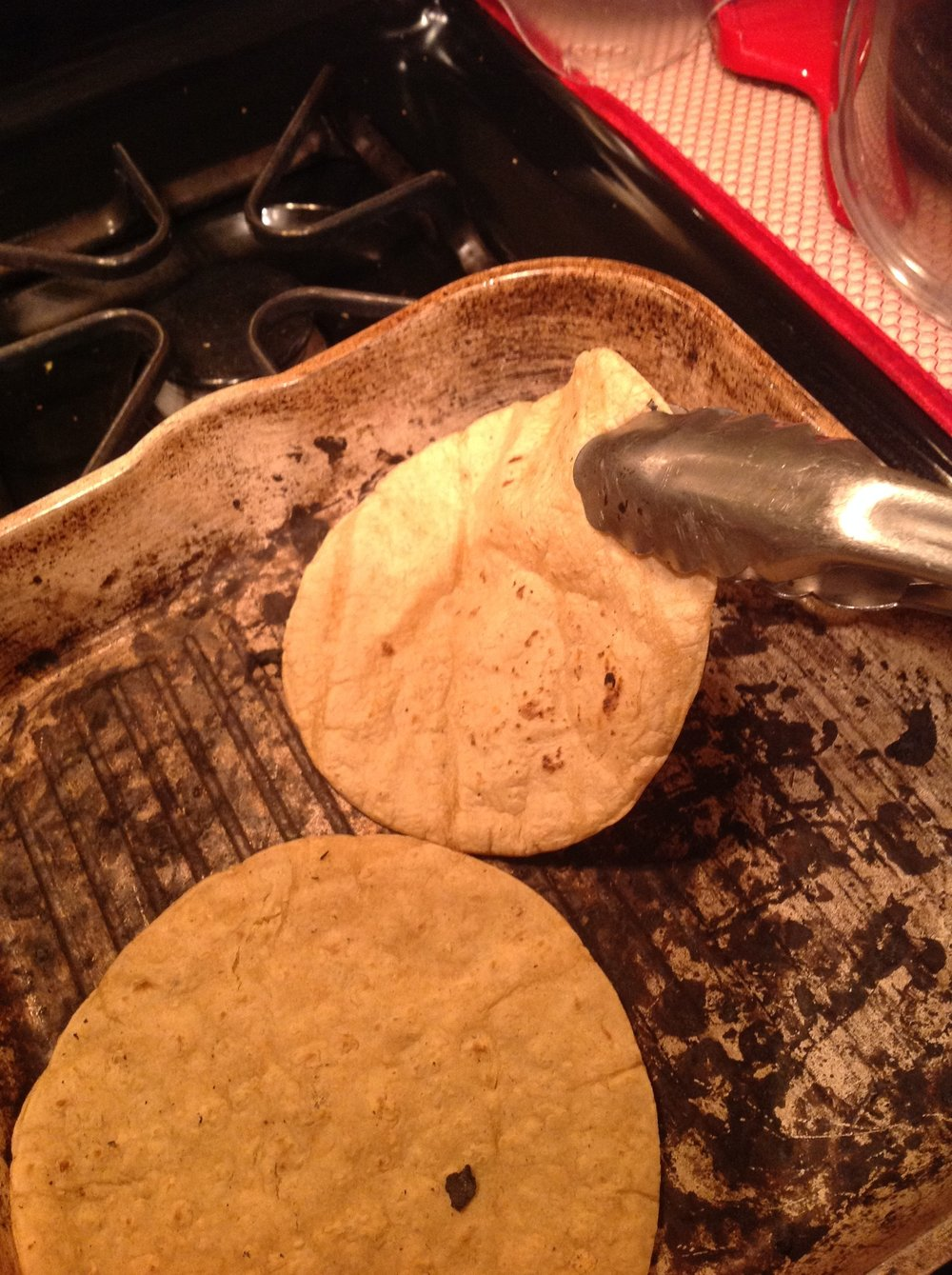 Chef's Tip - Warm the tortillas right on the grill.  You don't need oil to add healthy, fat-free flavor to this healthy Mexican vegan recipe
